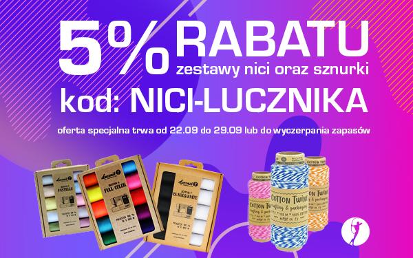 5% rabatu na zestawy nici i sznurki
